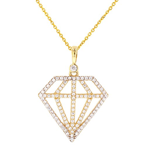Solid 14K Gold Hip Hop Diamond Shape Pendant with Cubic Zirconia Stones, 22'' by JewelryAmerica