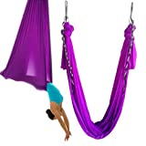wellsem Aerial Yoga Hammock 5.5 yards Aerial Pilates Silk Yoga Swing Set include Carabiner,daisy Chain, Pose Guide (Violet, 5meter) For Sale