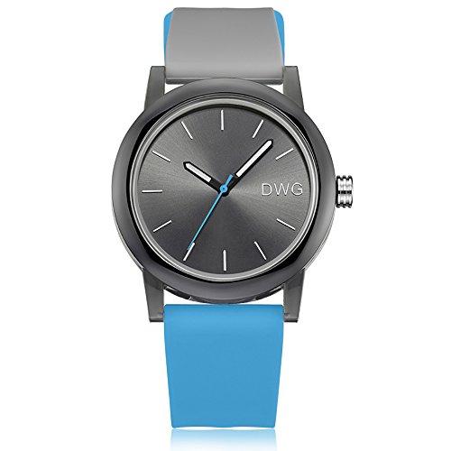 Silicone Quartz Watch Men Women Casual Analog Jelly Unisex Wrist Watch Simple Fashion Design Nice Colors Sport Watches (Light Blue Srap&Black Dial)