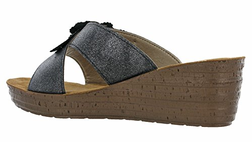 Black Donna Cinturino Caviglia con alla Sandali INBLU Glamour Gm017 qCwYRf8