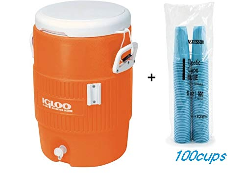 Igloo 5-Gallon Heavy-Duty Beverage Cooler, Orange & Disposable Cups Blue
