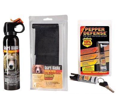 Guard Alaska Bear Repellant with Metal Belt Clip Holster and Pepper Defense Max Strength 10% OC Pepper Spray by Pepper Defense