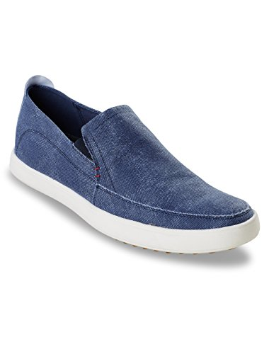 Hush Puppies Men's Roadside MT Slip-On Loafer, Navy Canvas, 13 W (Distressed Canvas Slip Ons Shoe)