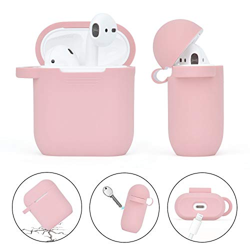 Airpods Case, Filoto Airpod Case Cover for Apple Airpods 2&1 Charging Case, Cute AirPods Silicone Soft Case Accessories Keychain/Skin/Pompom/Strap 2020 Series (Pink+Turquoise)