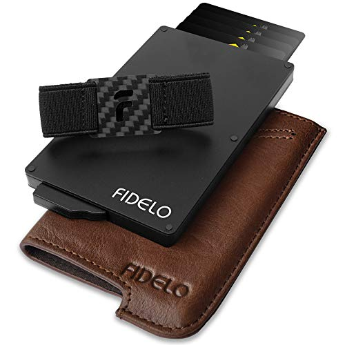 FIDELO Minimalist Wallet for Men - Slim Credit Card Holder RFID Mens Wallets with Leather Case (