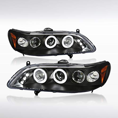 Autozensation For Honda Accord 2Dr 4Dr Black Halo Projector LED Headlights Pair