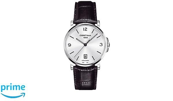 Certina DS Caimano - Reloj (Reloj de Pulsera, Masculino, Acero, Plata, Cuero, Negro): Amazon.es: Relojes