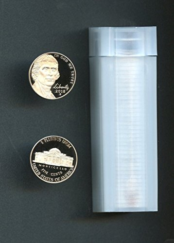 (2018 S Jefferson Nickel Roll of 40 Nickel Proofs Deep Cameo Pristine Examples Proof)