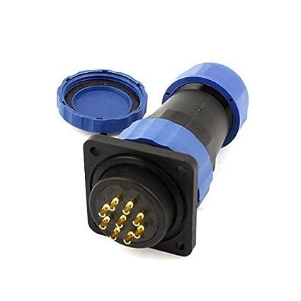 Amazon.com: eDealMax SD28 28mm 9 Pin 9P Plaza impermeable Aviación soldadura conector IP68: Electronics