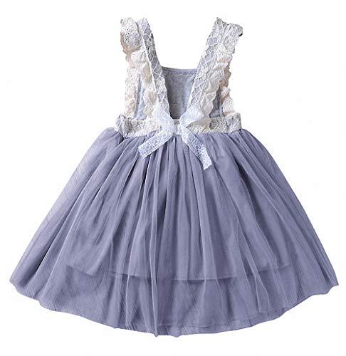 2Bunnies Girl Vintage Lace Bib Tulle Tutu Bow Eyelet Princess Party Dress (5, Dark Gray)