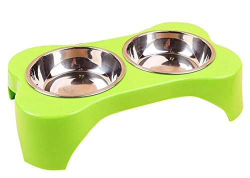 KYZ 2 Set Pet Dog Cat Stainless Steel Puppy Bowls Diner Dog Bowls For Small Dogs And Cats Green (Small Dog Feeder With Timer compare prices)