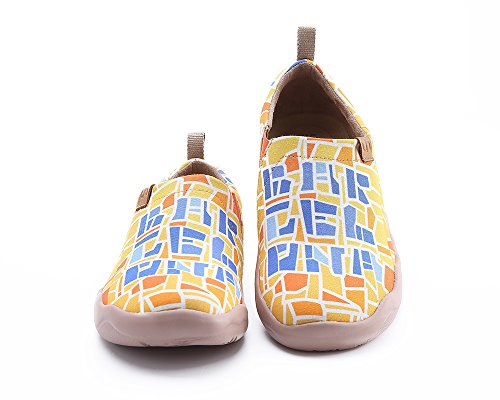 Yellow Uin Slip Shoe Painted Code Women's On Canvas Barcelona qrPqvf18