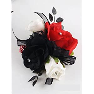 Angel Isabella Wrist Corsage - Black, White and Red Roses 111