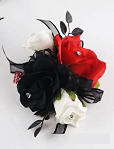 Amazon.com: Wrist Corsage - Black, White and Red Roses