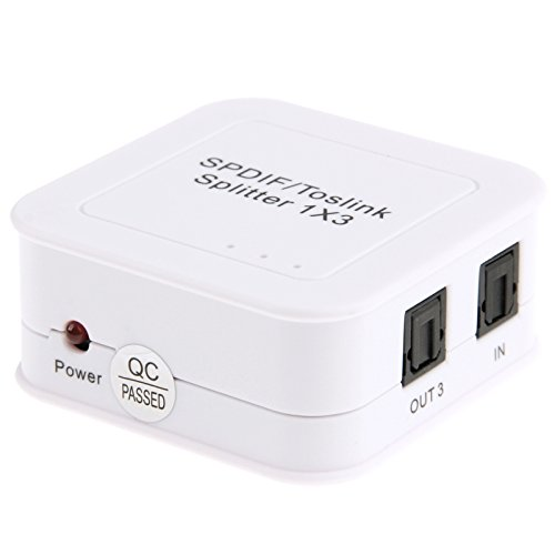 Optical Cables, SPDIF/TOSLINK Power Adapter Digital Optical Audio Splitter Amplifier 1x3