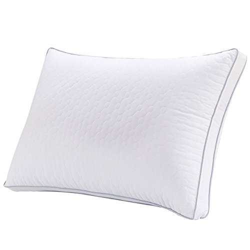 GT ROAD Silk Bed Pillows for Sleeping, Dust and Mite Repellent Velvet Feather Filler with Stitched Patterns Bed Pillow, Queen (Set of 1) (Silk Pillow Bed)