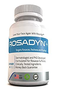 Rosacea Treatment Formula by Rosadyn | Relief for Face Redness, Blushing and Ocular Red Eyes | Works Internally Unlike a Face Wash, Moisturizer, Cream or Other Skin Care Products | Natural | 60 H Caps
