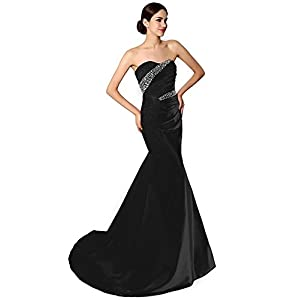 ee9460fdfd1 Sarahbridal Women s Sexy Mermaid Prom Evening Dress Stain Strapless Mother  of Groom Gowns Black US16