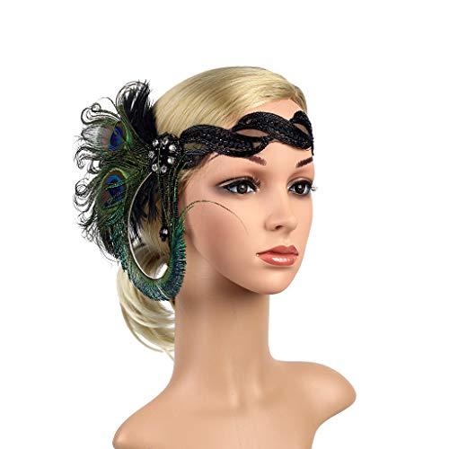 JISEN 1920s Flapper Vintage Peacock Feather Gatsby Beaded Tassel Headpiece Green ()
