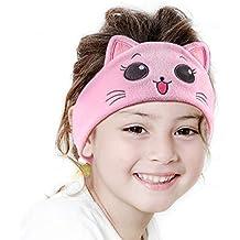 iClever Kids Headphones Girls - Sleeping Headphones Kids, Comfortable Fleece Headband, Removable Speakers, Washable Headband, Volume Limiting, Tangle-Free Wires - Childrens Headphones, Pink