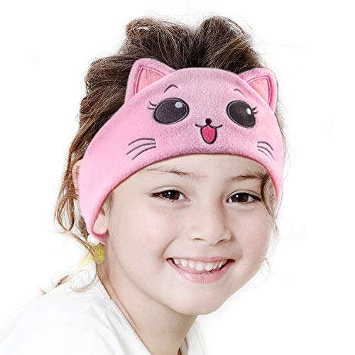 iClever Kids Headphones Girls - Sleeping Headphones for Kids, Comfortable Fleece Headband, Removable Speakers, Washable Headband, Volume Limiting, Tangle-Free Wires - Childrens Headphones, Pink