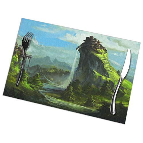 Placemats for Dining Table Set of 6 Fantasy Landscape Wear-Resistant Heat-Resistant Kitchen Table Mats 18