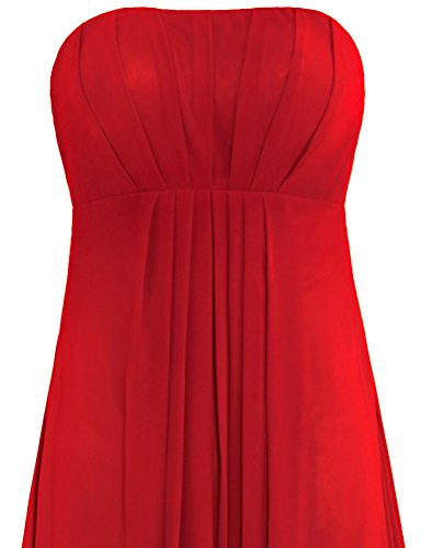 Bridesmaid Long Dress Empire Gown Chiffon Strapless Women's ANTS Red wqfItg
