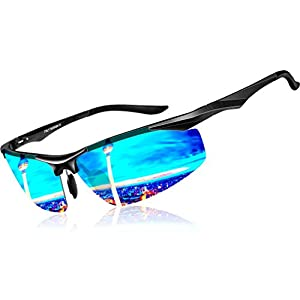 ATTCL Men's Sports Polarized Sunglasses Driver Golf Fishing Al-Mg Metal Frame (Fashion Blue, 2206)