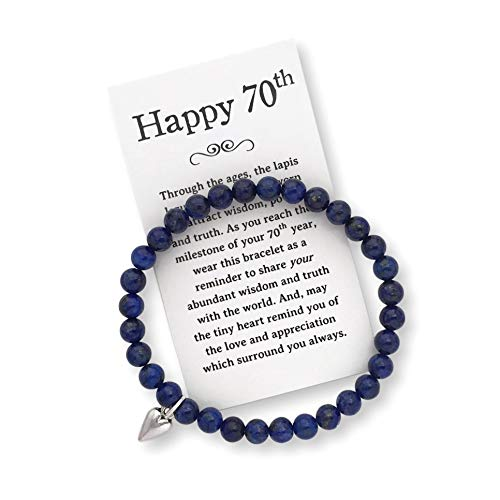 70th Birthday Gift for Women - 70th Jewelry Bracelet with Box, Bow and Card]()