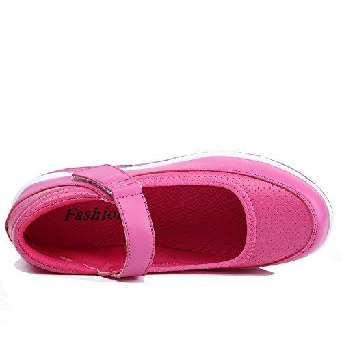 Enllerviid Dames Mary Jane Toning Wandelschoenen Velcro Vorm Omhoog Platform Wiggen Mode Sneakers Roos