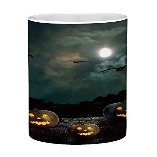 Lead Free Ceramic Coffee Mug Tea Cup White Halloween 11 Ounces Funny Coffee Mug Yard of an Old House at Night Majestic Moon Sky Creepy Dark Evil Face Pumpkins Decorative Multicolor -