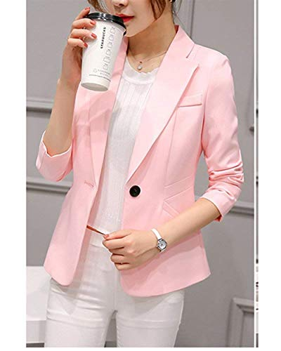 Puro Moda Fit Alta Chic Da Ufficio Cappotto Blazer Confortevole Pink Giacca Giacche Bavero Tailleur Colore Button Primaverile Business Lunga Autunno Vita Slim Ragazza Manica Donna Eleganti Con UwxPI5qx