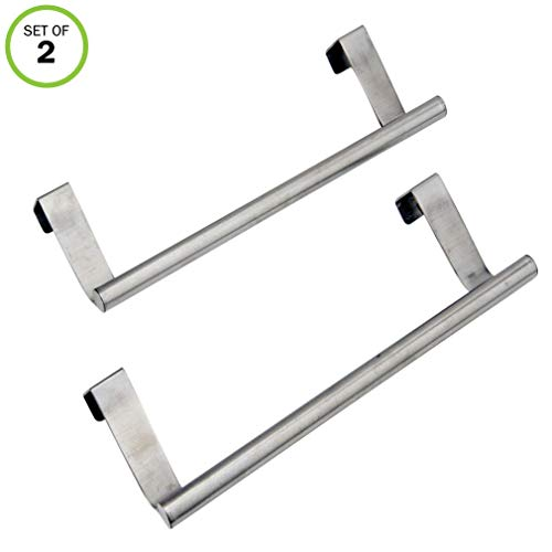 "Evelots Over Cabinet Door Dish Towel Bar Holders, 9.37"" Stainless Steel- Set/2"