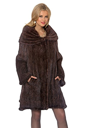 Madison Avenue Mall Womens Knitted Mink Coat - Large Cape Collar - Mahogany - Size - Mall Madison