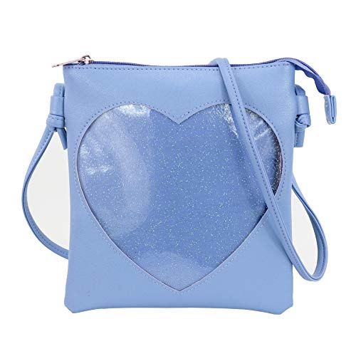 SteamedBun Ita Bag Heart Crossbody Bags for Women Girls Small Clear Phone Wallet Shoulder Purse with zipper - Bag Pastel Blue Leather Handbags