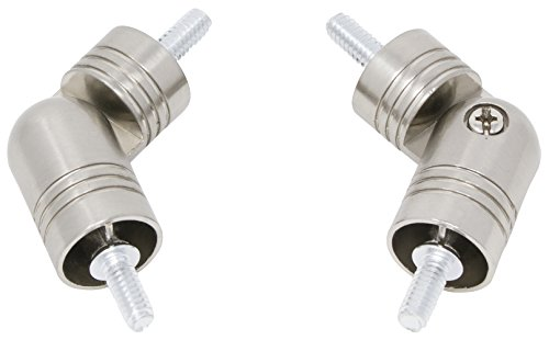 MERIVILLE Hinged Elbow Connector - Designed for Bay Window Curtain Rods or Corner Drapery Rods up to 1-inch Diameter, 2 Pcs (Satin Nickel)