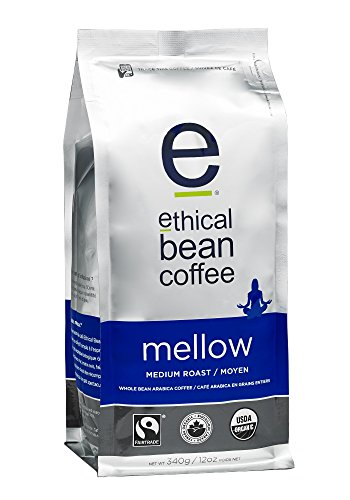 Ethical Bean Coffee Mellow: Single Origin Medium Roast Whole Bean Coffee - USDA Certified Organic Coffee, Fair Trade Certified - 12 ounce bag