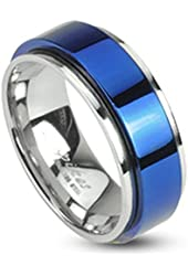 STR-0104 Stainless Steel Two Tone Blue IP Spinning Ring