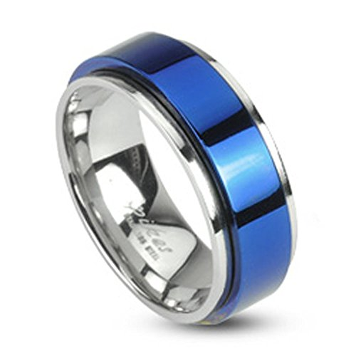 Jinique STR-0104 Stainless Steel Two Tone Blue IP Spinning Ring