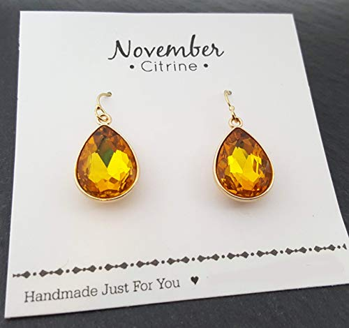 November Birthstone Earrings - Citrine Crystal 14k Gold Filled Teardrop Earrings - Gift for Her