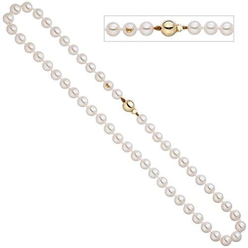 Chaîne Collier en perles de Akoya kugelsc déployante en or jaune 585perles de 40cm