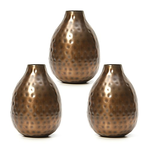 Hosley Set of 3 Antique Bronze Metal Bud Vases - 4.5