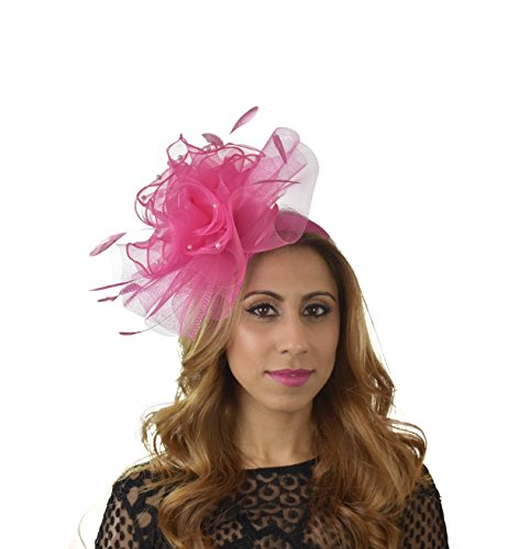 Hats By Cressida Layers Of Faux Pearl Trimmed Chiffon & crin Elegant Ladies Ascot Wedding Fascinator Hat Hot Pink by Hats By Cressida