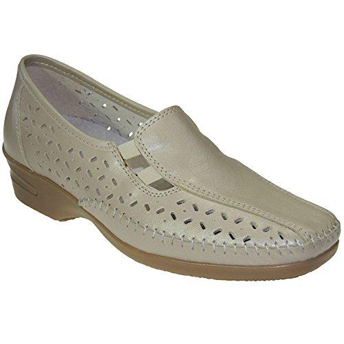 S@KUT - Zapato Comodón En Piel Y Calado - Modelo 356 Beig