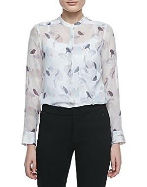 Brindan Semi-Sheer Button-Front Printed Silk Blouse, Multi - (Medium)