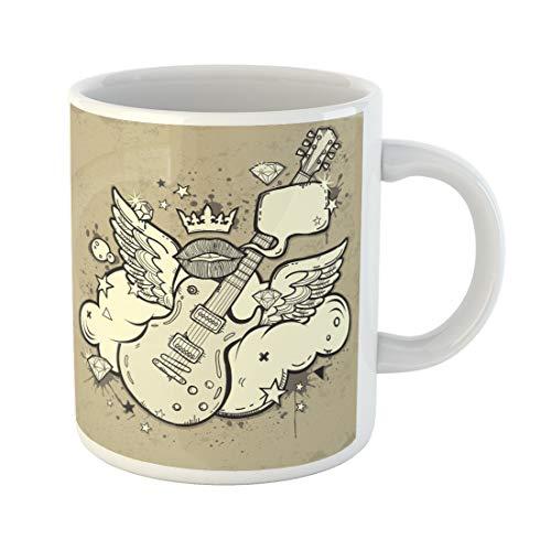 Semtomn Funny Coffee Mug Blue Music Rock N Roll Guitar Wings Cloud Orange Crown 11 Oz Ceramic Coffee Mugs Tea Cup Best Gift Or Souvenir ()