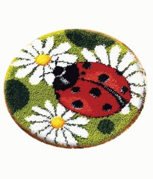 Sunny DIY Crochet Yarn Kits, 18.89 diameter, Needlework Kit DIY Crocheting Rug Yarn Cushion Embroidery Set, Ladybug 18.89 diameter