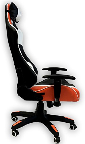 41b4T 9cEbL - ViscoLogic-Series-Sprint-Gaming-Racing-Swivel-Office-Chair-Black-Orange-White