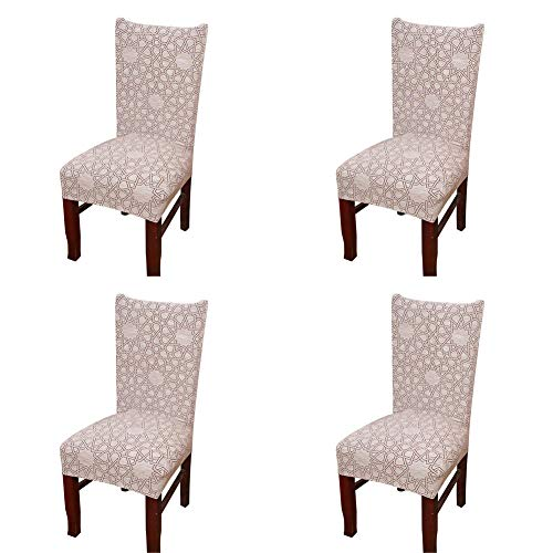 Spendex Dining Chair Slipcovers - 4 Pack Removable Dining Chair Covers Wrinkle and Stain Resistant Chair Protector Fitted Stretch Cushion Covers for Dining Room,-Pebble (Dining Room Arm Chair Covers)