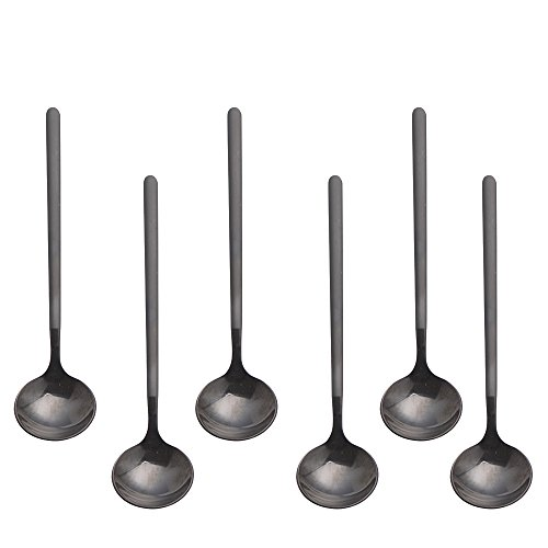 Espresso spoons 18/10 Stainless Steel,6-piece Vogue Mini Teaspoons set for Coffee Sugar Dessert Cake Ice Cream Soup Antipasto cappuccino,5 Inch frosted handle,by Pukka Home (Black) ()